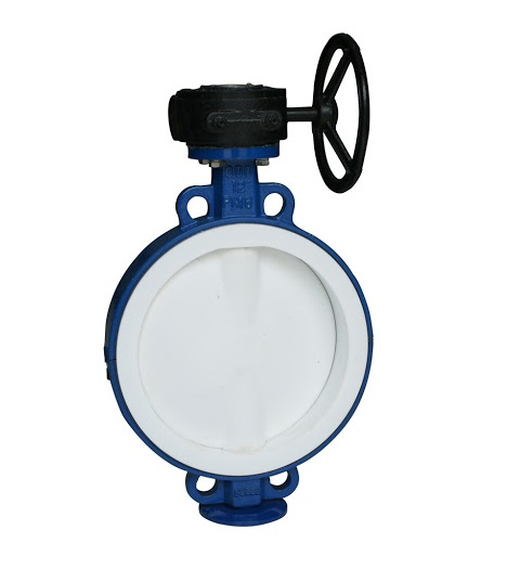 PTFE lbutterfly valves to be inserted between flanges Wafer and LUG type